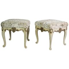Pair of Chippendale Style Stools