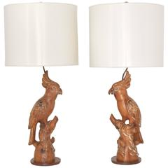 Pair of Mid-Century Hand-Carved Wooden Parrot Form Table Lamps