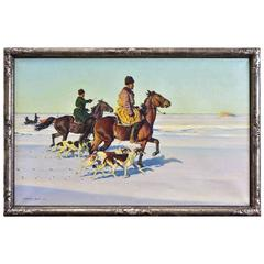 Oil Painting of Russian Cossaks W Horses & Dogs by Hugo Ungewitter