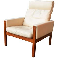 Hans Wegner AP62 Tall Lounge Chair in Teak and Cream Leather