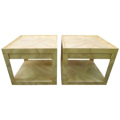 Stunning Pair of Karl Springer Style Faux Goatskin End Table Nightstands