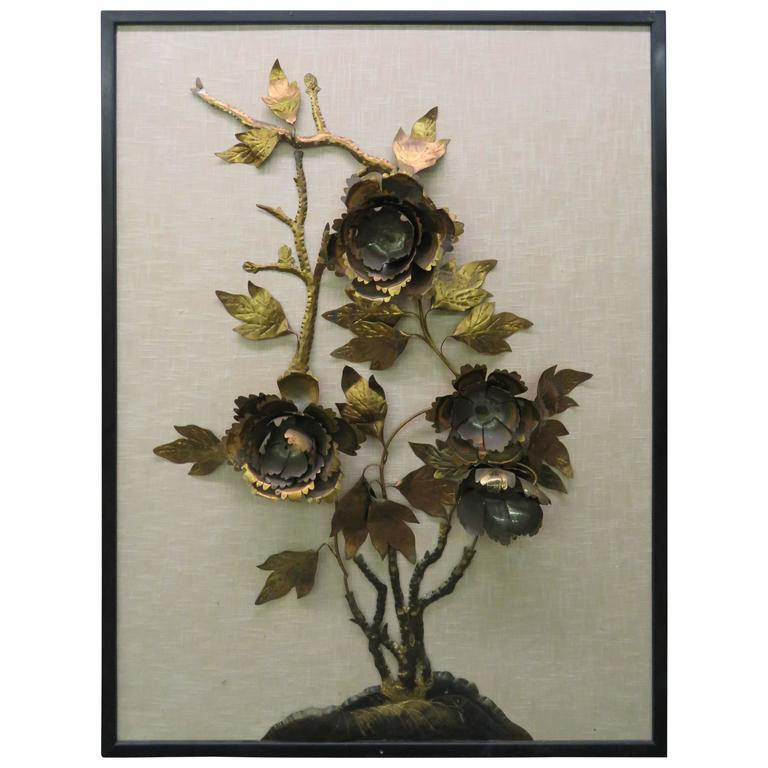 Brutalist Curtis Jere Style Brass Peony Flower Wall Hanging Sculpture