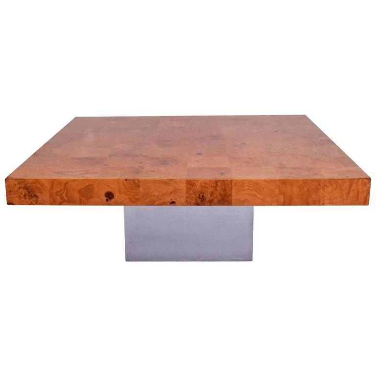 Genial Milo Baughman Coffee Table, Burl Wood And Chrome Base For Sale