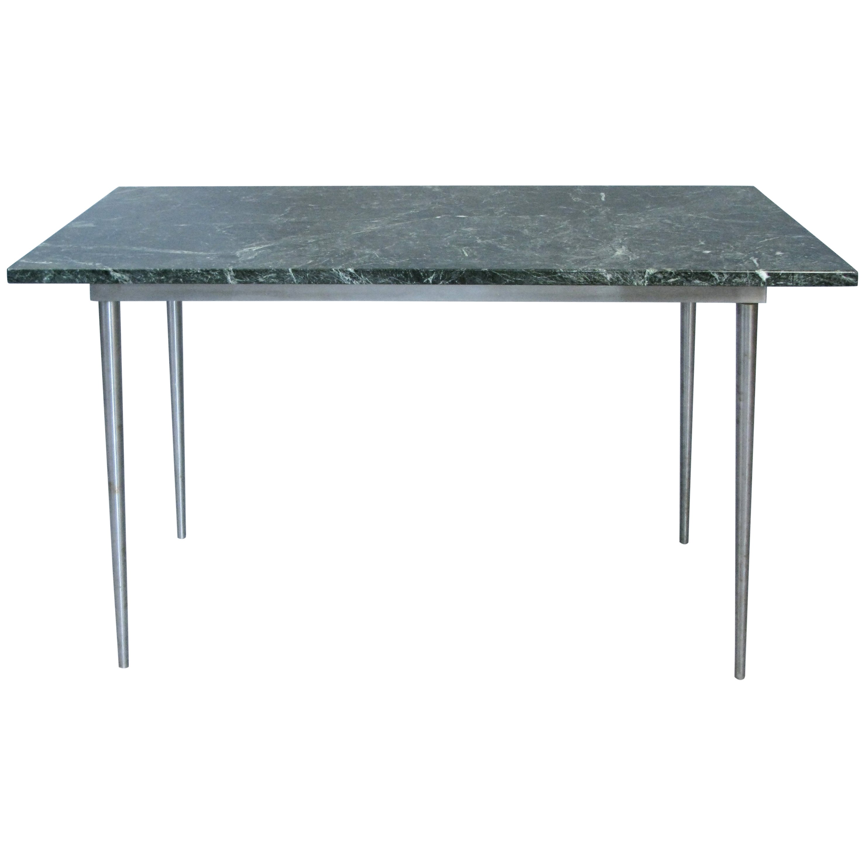 Vintage 1970s Steel and Marble Table