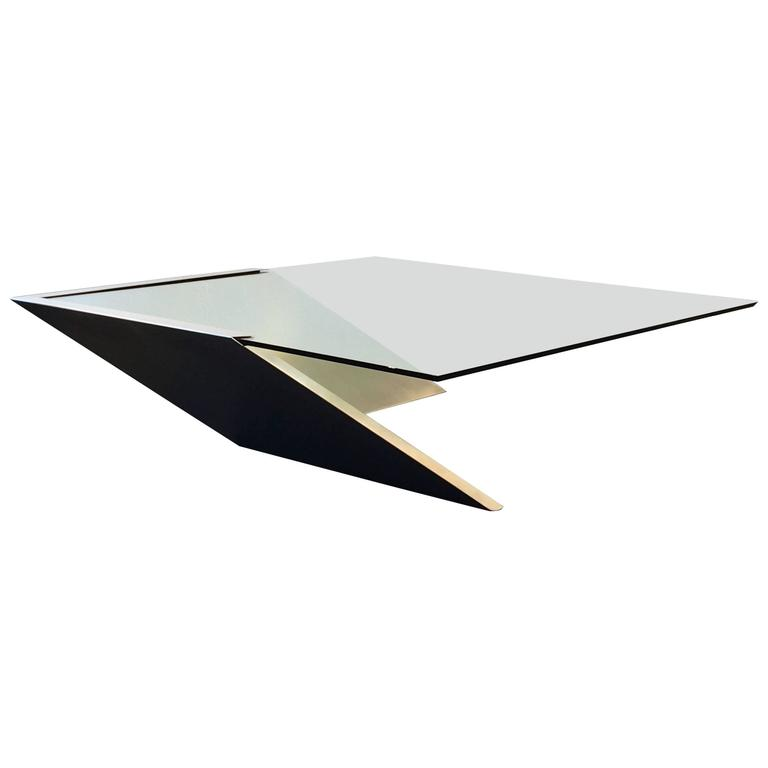 Brushed Stainless Steel and Glass Cocktail Table by Brueton