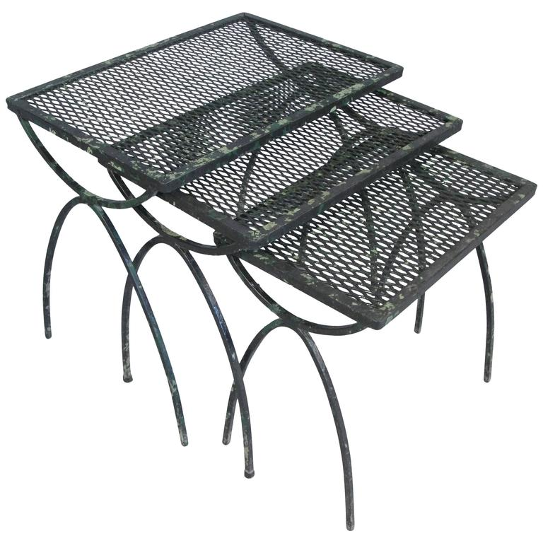 Nice Set Of Vintage 1950s Wrought Iron Nesting Tables By Salterini 1