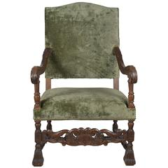 19th Century, French, Armchair in Green Velvet with Carved Details