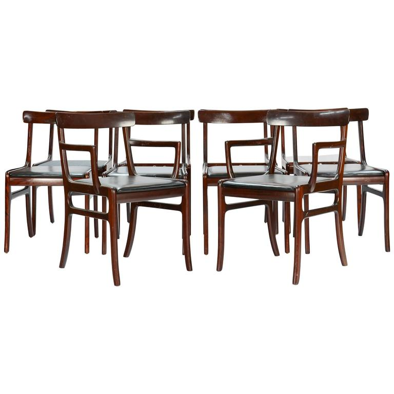Ten elegant ole wanscher rungstedlung chairs in mahogany for P jeppesen furniture