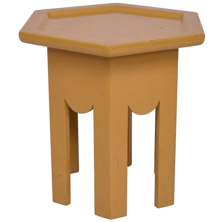 Occasional Side Hexagon Table in Yellow Lacquer Finish