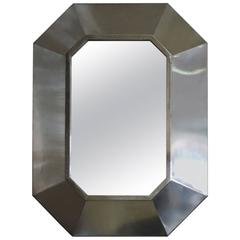 Fine French 1970s Stainless Steel Framed Mirror
