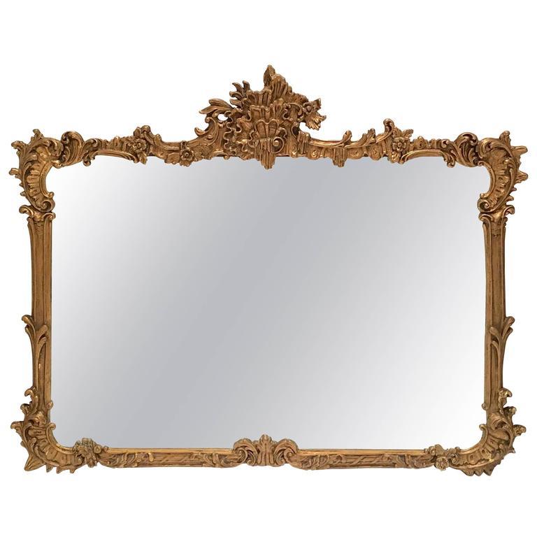 19th Century Art Nouveau Large Carved Ornate Gilt Wood Mirror