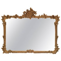 19th Century Art Nouveau Carved Gilt Wood Wall Mirror