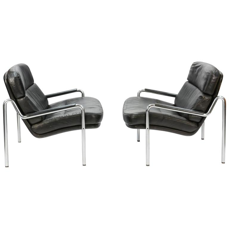 Inviting Pair of Club Chairs by Jørgen Kastholm for Kusch & Co. 1