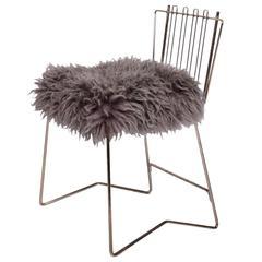 PR03 Folding Brass and Lambskin Chair