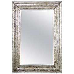 Italian Carved Wood Silvered Mirror with Glass Bevel