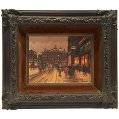 "Andre Boyer Original Oil On Canvas Painting, ""Paris In Winter""-Signed"