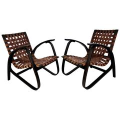 Jan Vanek Pair of Bentwood Easy Armchairs with Woven Straps