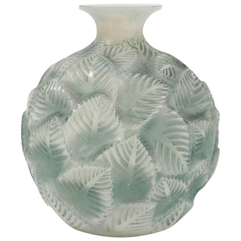 """Rene Lalique """"Ormeaux"""" Opalescent Vase For Sale"""