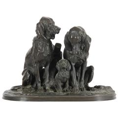 19th Century, Henri Alfred Jacquemart Bronze Dog Group Sculpture