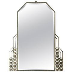 1930´s Large Art Deco Mirror, polished cast aluminium frame - France