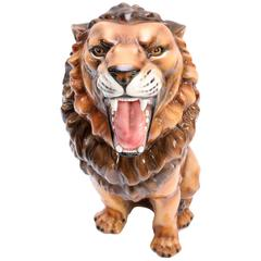 Hollywood regency 1960s hand-painted and glazed Ceramic Lion Sculpture