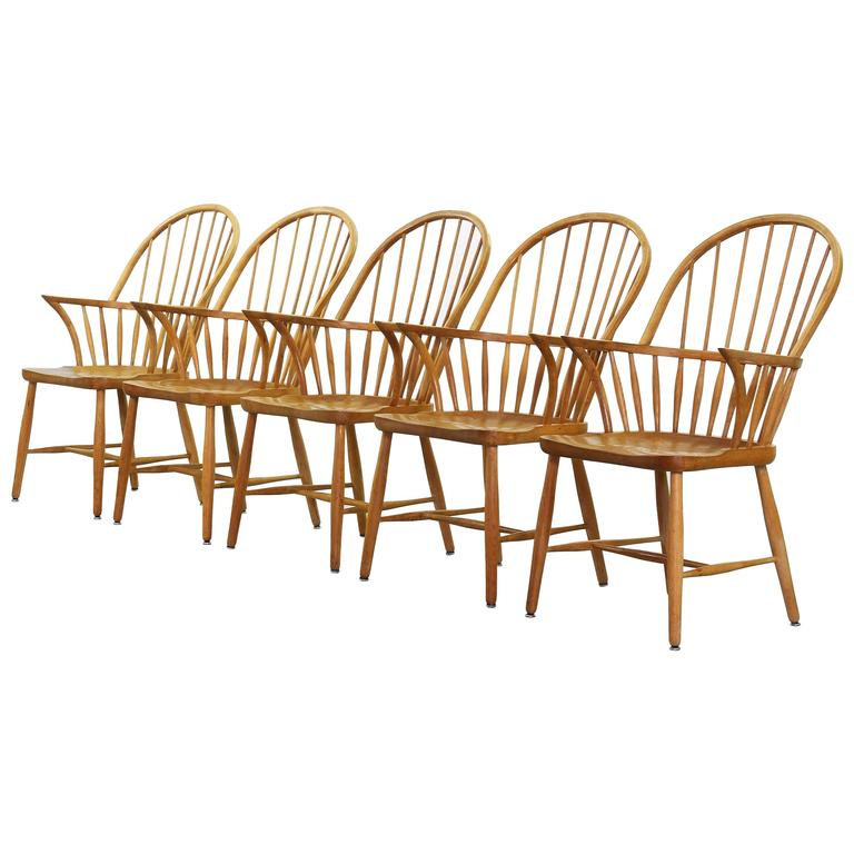 This four wishbone chairs by hans wegner is no longer available - Set Of Five Beautiful Windsor Chairs By Frits Henningsen