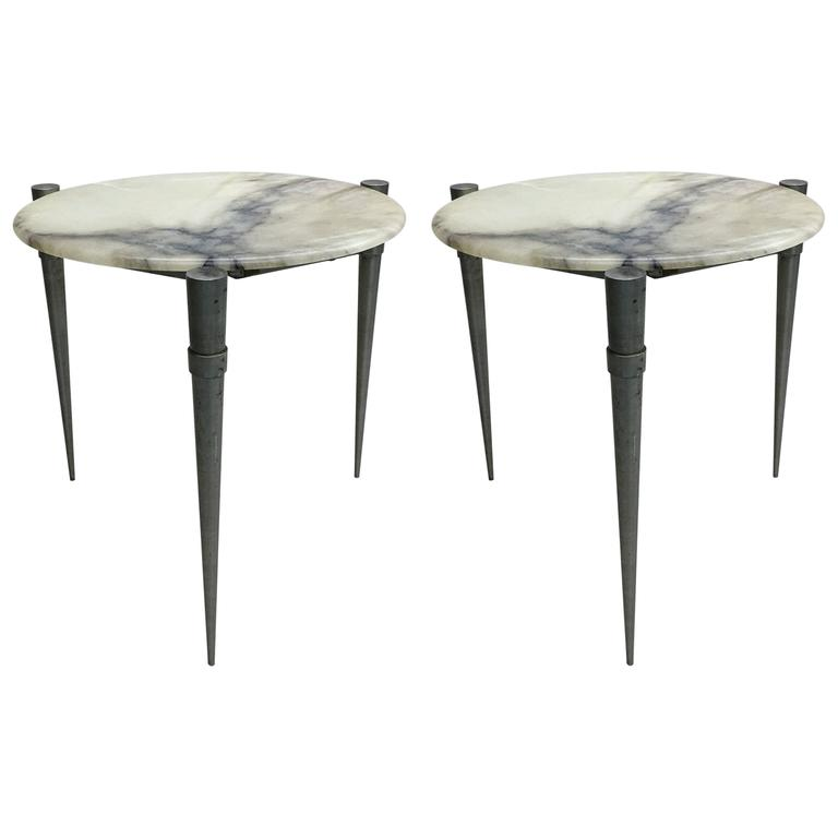 Pair of French Mid-Century Modern Steel and Alabaster Side Tables, circa 1950