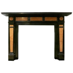 19th Century Belgian Black Marble English Fireplace Mantel