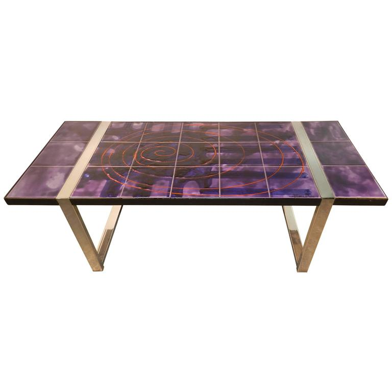 Juliette Belarti Large Mid-Century Coffee Table Featuring Handmade Ceramic Tile