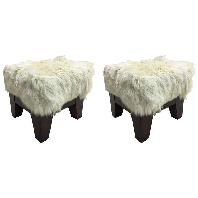 Pair of Italian, 1930s, Sheepskin Stools/Benches 1