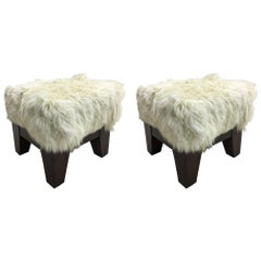 Pair of Italian Mid-Century Modern Sheepskin Stools or Benches, 1930