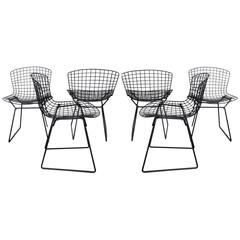 Six Harry Bertoia for Knoll Black Wire Dining Chairs