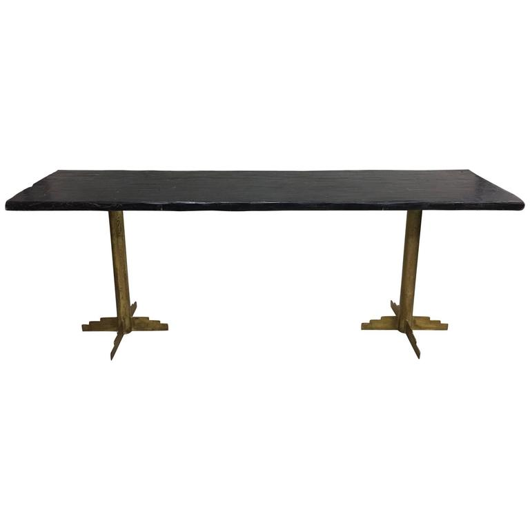 Two French Mid-Century Modern Gilt Iron Consoles or Dining Tables, 1925