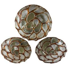 Three Paisley Pattern Glass Flush Mount, Limburg, Germany