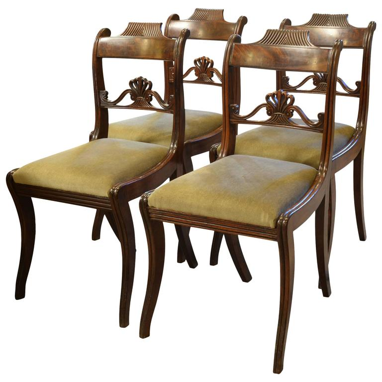 Four Mahogany Regency Dining Chairs At 1stdibs