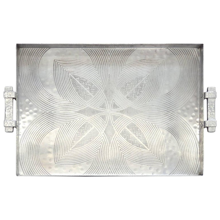 Canterbury Arts Art Deco Moderne Hammered Aluminum Serving Tray For Sale
