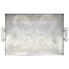 Canterbury Arts Art Deco Moderne Hammered Aluminum Serving Tray