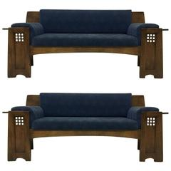 Two Architectural Oak Settees or sofas in the Style of Charles Rennie Mackintosh