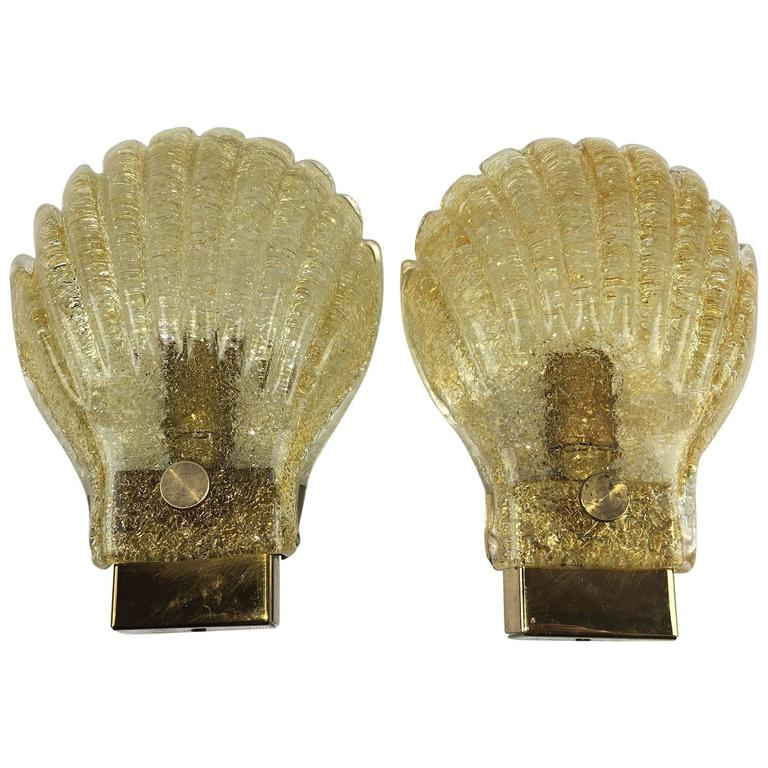 Pair of Sea Shell Pattern Modernist Murano Glass Sconces