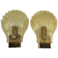 Pair of Sea Shell Pattern Modernist Murano Glass Sconces - ON SALE