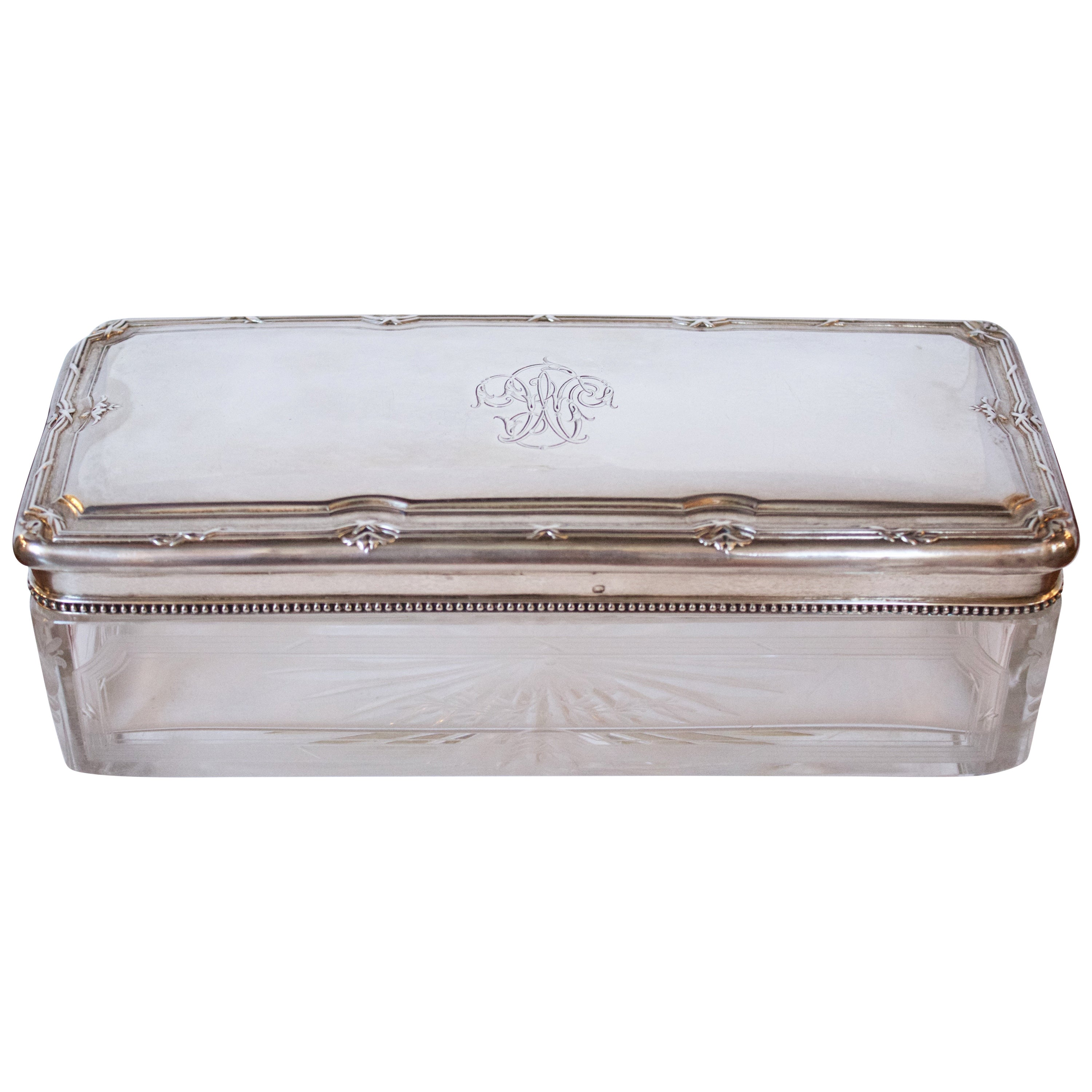 French 19th Century Crystal Box with .950 Silver Lid