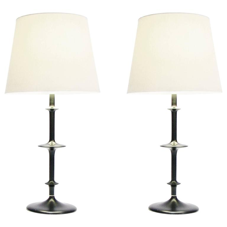 Pair of Exquisitely-Detailed Spindle Lamps by 20th Century Design Studios For Sale