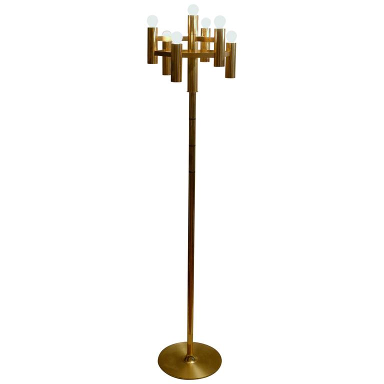 Geometric 1960s Sciolari Brass Floor Lamp