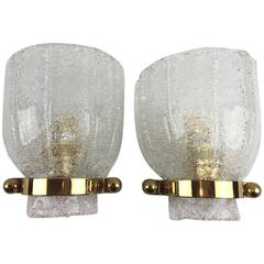 Pair of Calyx Pattern Modernist Hillebrand Glass Sconces