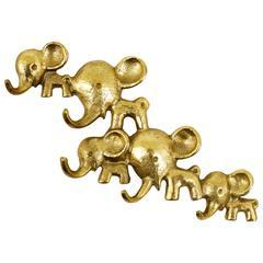 Walter Bosse Elephants Brass Key Hanger by Hertha Baller, Austria, 1950s