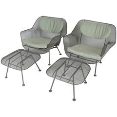 Pair of Vintage 1950s, Lounge Chairs and Ottomans by Russell Woodard