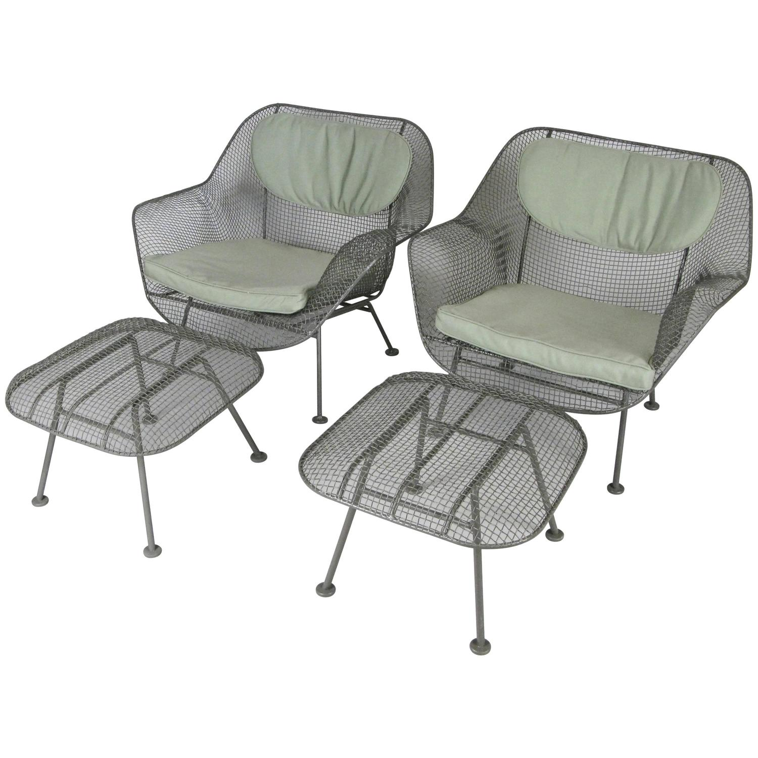 Pair of Sculptura Lounge Chairs and Ottomans by Russell Woodard at