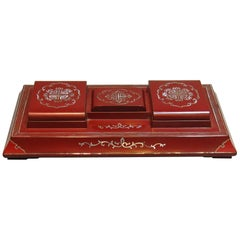 Rare Antique Chinese Red Lacquer Desk Box Early 20th Century