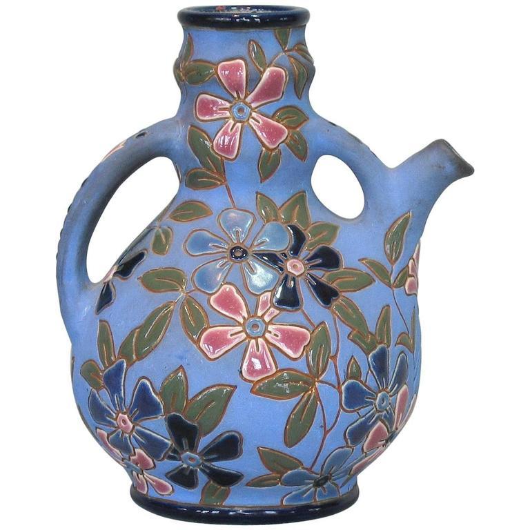 Czechoslovakian Glazed Earthenware Pitcher by Amphora, circa 1918-1939