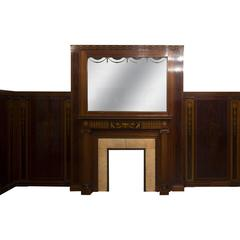 Regency Style Paneled Room in Mahogany Marquetry with Fireplace, 19th Century